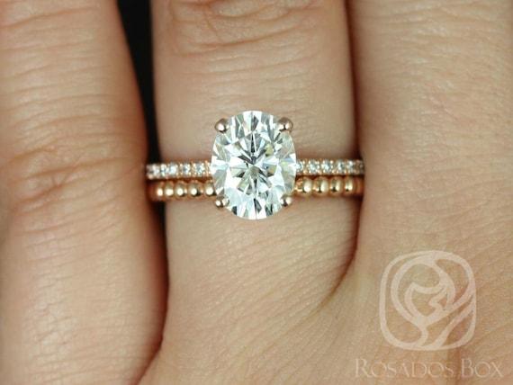 Rosados Box Hillary 9x7mm & Buddha Beads 14kt Rose Gold Oval Forever One Moissanite Diamond Basket Wedding Set Rings