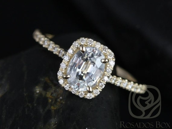 Rosados Box Romani 7x5mm 14kt Yellow Gold White Sapphire and Diamonds Cushion Halo Engagement Ring