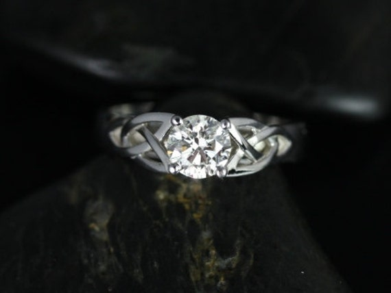 3/4ct McCara 14kt Solid White Gold Conflict Free Diamond Celtic Love Knot Triquetra Round Engagement Ring,Rosados Box