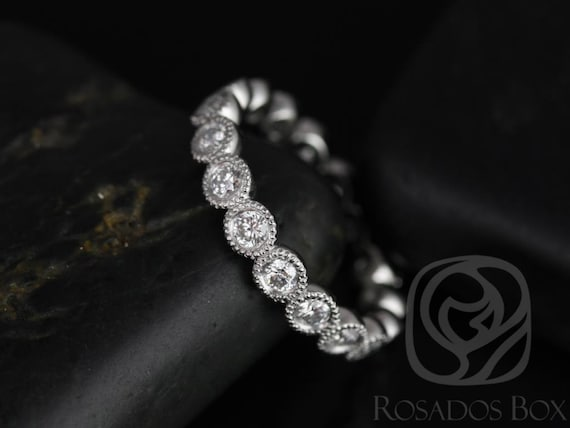 Rosados Box Medium Bubbles 14kt White Gold Round Bezel WITH Milgrain Beading Diamonds FULL Eternity Band