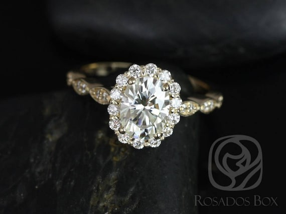 SALE Rosados Box Ready to Ship Jubilee 8x6mm 14kt Gold 1.50ct Oval FB Moissanite Art Deco Scalloped Halo WITHOUT Milgrain Engagement Ring
