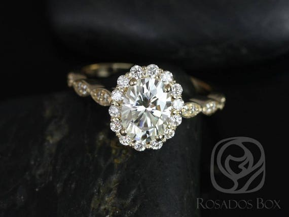 SALE Rosados Box Ready to Ship Jubilee 8x6mm 14kt Yellow Gold Oval FB Moissanite ⋄ Flower Petal Halo WITHOUT Milgrain Engagement Ring