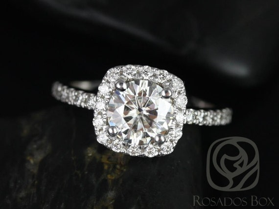 Rosados Box Colbie 7mm 14kt White Gold Round Forever One Moissanite Diamond Cushion Halo Engagement Ring