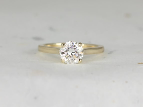 Rosados Box Lara 7mm 14kt Yellow Gold Round F1- Moissanite Trellis Cathedral Solitaire Engagement Ring