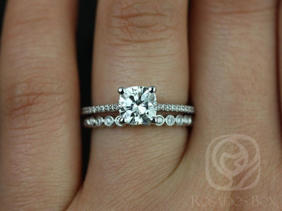 1.30cts Marcelle 6.5mm & Petite Bubbles 14kt White Gold Forever One Moissanite Diamond Dainty Cushion Wedding Set Rings,Rosados Box