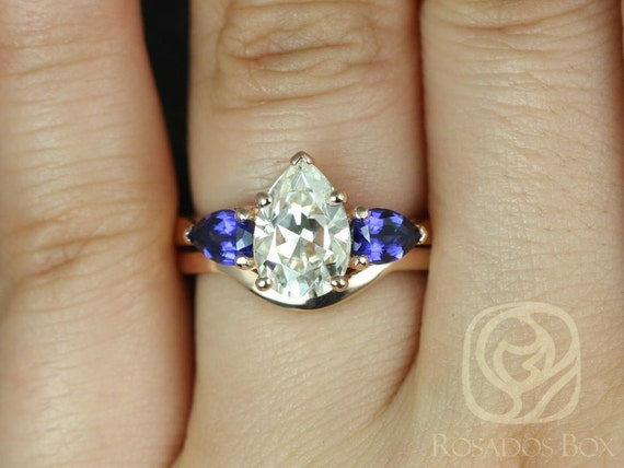 Rosados Box Kasey 10x7mm 14kt Rose Gold Pear F1- Moissanite and Blue Sapphire 3 Stone Wedding Set