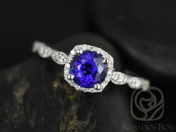 Christie 6mm 14kt White Gold Blue Sapphire Diamonds Dainty Art Deco Cushion Halo WITH Milgrain Engagement Ring,Rosados Box