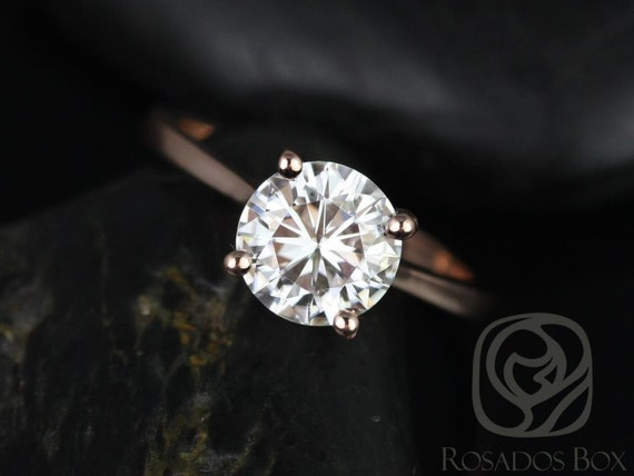 1.50ct Skinny Flora 7.5mm 14kt Rose Gold Forever One Moissanite Dainty Thin Cathedral Round Solitaire Engagement Ring,Rosados Box