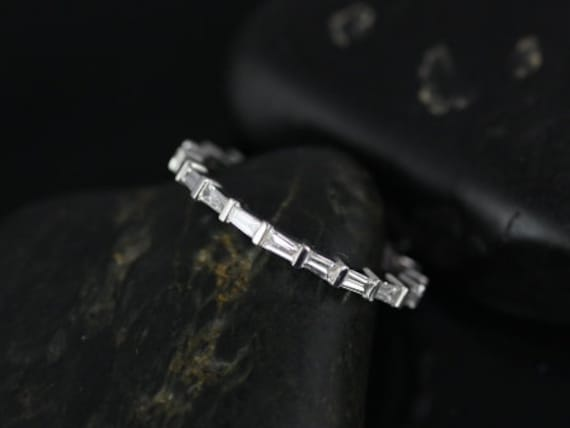 Petite Horizontal Baguette Diamond Unique FULL Eternity Band Ring,14kt White Gold,Baguettella,Rosados Box