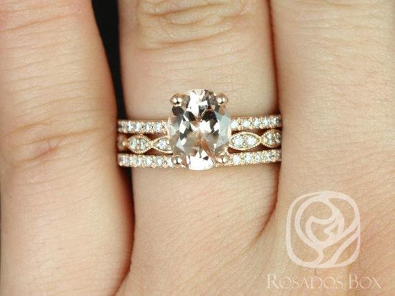 Rosados Box Hillary 9x7mm & Christie 14kt Rose Gold Oval Morganite Diamond Halo TRIO Wedding Set Rings