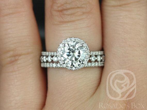 1.50ct Round Forever One Moissanite Diamond Thin Pave Halo TRIO Wedding Set Rings,14kt White Gold,Kimberly 7.5mm & Petite Naomi,Rosados Box