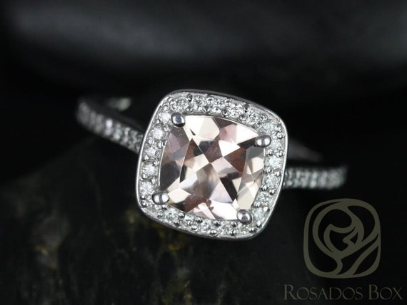 Rosados Box Hollie 7mm 14kt White Gold Cushion Morganite and Diamond Halo Engagement Ring