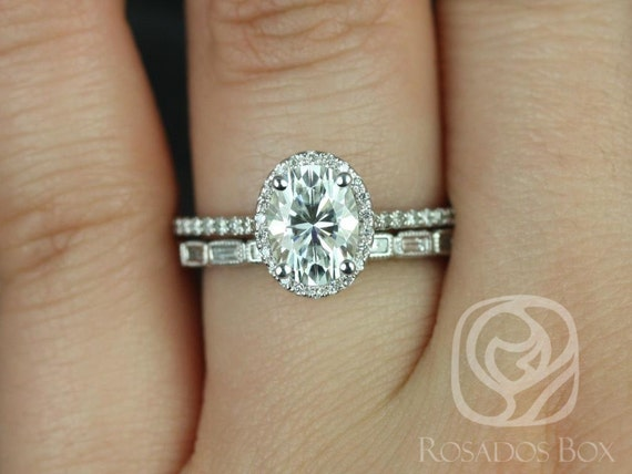 1.50cts Rebecca 8x6mm & Rihani 14kt White Gold Forever One Moissanite Diamond Art Deco Micropave Oval Halo Wedding Set Rings,Rosados Box