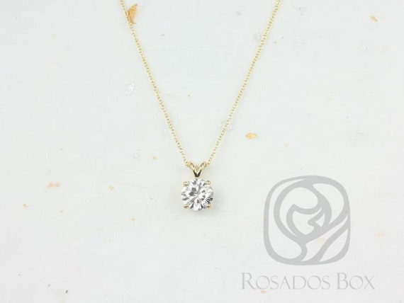 Rosados Box Ready to Ship Donna 7mm 14kt ROSE Gold Round F1- Moissanite Solitaire Leaf Gallery Basket Necklace