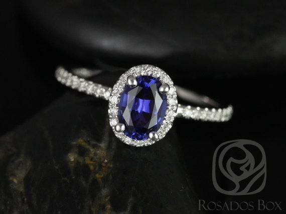 Rosados Box Federella 7x5mm 14kt White Gold Oval Blue Sapphire and Diamonds Halo Engagement Ring