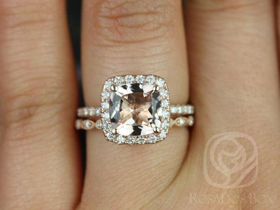 Rosados Box Pernella 8mm & Ultra Petite Bead Eye 14kt Rose Gold Cushion Morganite and Diamond Wedding Set