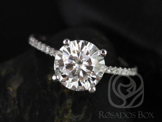 2ct DIAMOND FREE Eloise 8mm 14kt White Gold Forever One Moissanite White Sapphires Pave Round Solitaire Accent Engagement Ring,Rosados Box