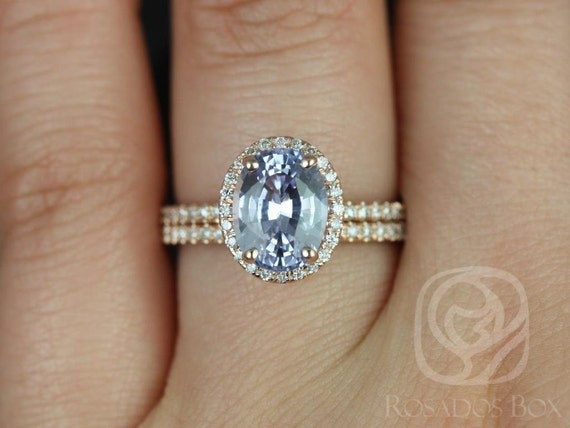 2.63ct Oval Lilac Purple Sapphire Diamond Micro Pave Halo Wedding Set Rings Rings,14kt Rose Gold,Ready to Ship Federella 2.63cts,Rosados Box