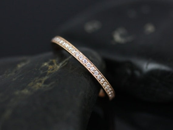 Rosados Box Victoria 14kt Rose Gold WITH Milgrain Pave Diamonds FULL Eternity Band