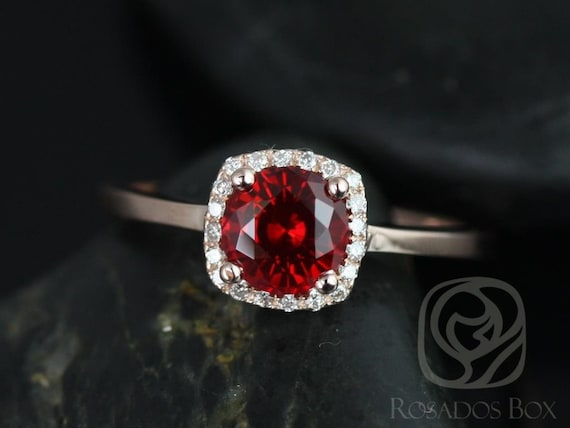 Ruby Diamonds Cushion Halo Plain Band Engagement Ring , 14kt Solid Rose Gold , Bella 6mm , Rosados Box