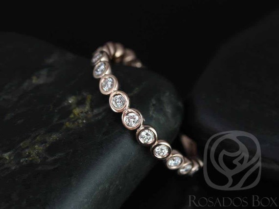 Bubbles Original 2.8mm 14kt Rose Gold Diamonds Bezel WITHOUT Milgrain ALMOST Eternity Band Stacking Ring,Rosados Box