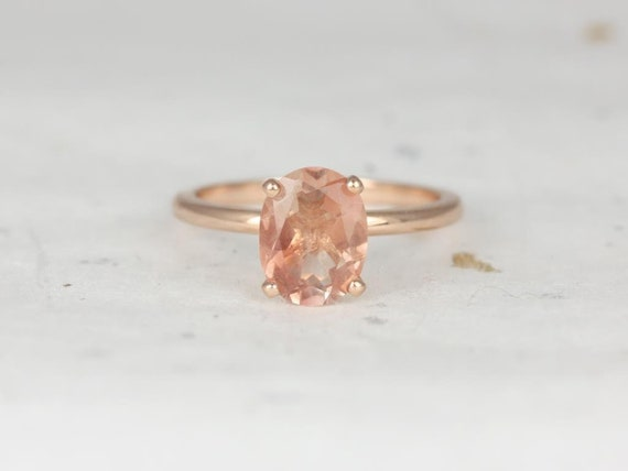 9x7mm Oval Sunstone Thin Dainty Solitaire Engagement Ring,14kt Solid Rose Gold,Dakota 9x7mm,Rosados Box