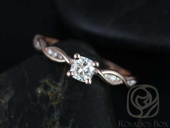 Ember 4mm 14kt Rose Gold Cushion Forever One Moissanite Diamonds Infinity DNA Twist Engagement Ring,Rosados Box