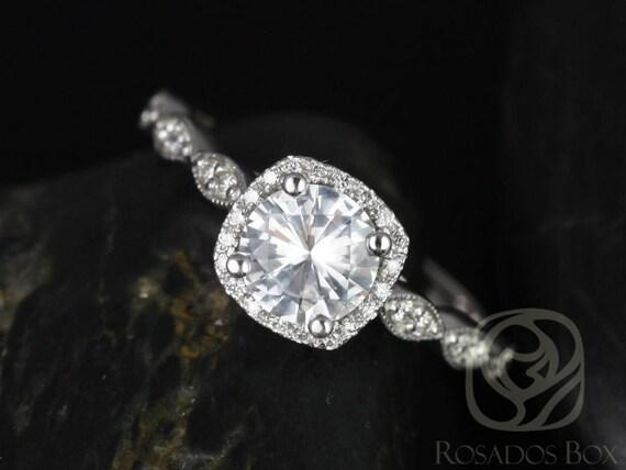 Christie 6mm 14kt White Gold White Sapphire Diamonds Art Deco Pave Cushion Halo WITH Milgrain Engagement Ring,Rosados Box