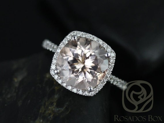 Rosados Box Barra 10mm 14kt White Gold Morganite and Diamond Cushion Halo Engagement Ring