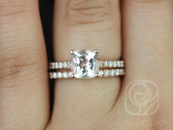 Rosados Box Tiffani 7mm 14kt Rose Gold Cushion Morganite and Diamond Cathedral Wedding Set Rings