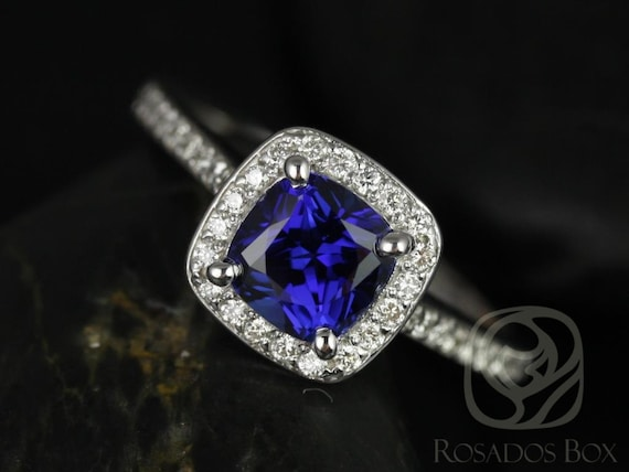 Rosados Box Hollie 6mm 14kt White Gold Cushion Blue Sapphire and Diamonds Halo Engagement Ring