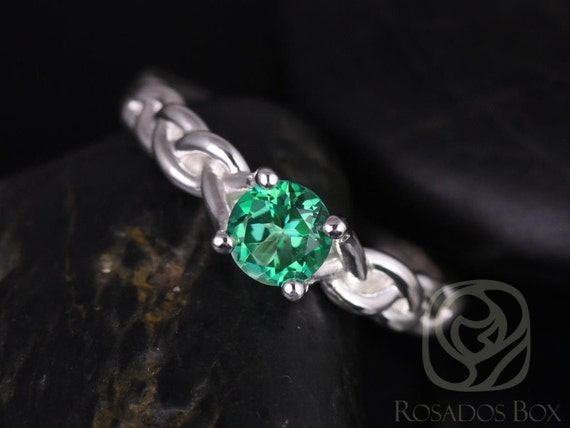 Rosados Box Prudence 5mm 14kt White Gold Round Rainforest Green Topaz Braided Engagement Ring