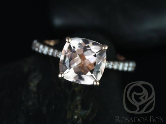Rosados Box Ready to Ship Taylor 9mm 14kt WHITE Gold Cushion Morganite and Diamonds Cathedral Engagement Ring