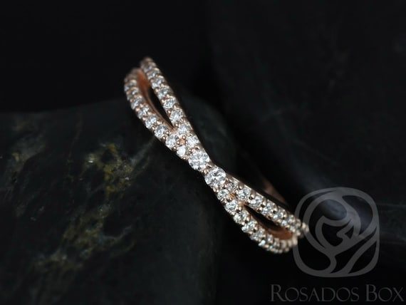 Ready to Ship Skinny Lima 14kt YELLOW Gold Dainty Infinity Criss Cross Diamond Wedding Band Ring,Rosados Box