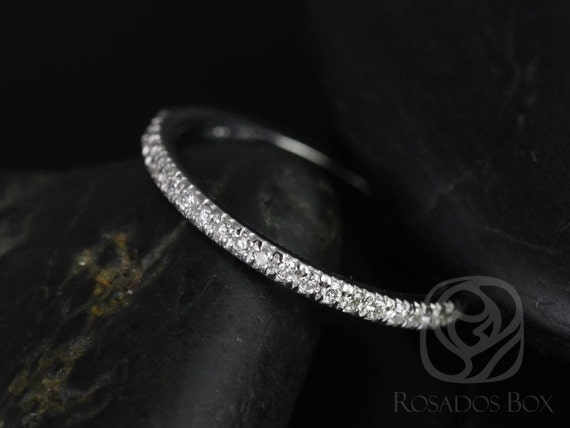 Thin Diamond Micropave Matching Band to Callie/Becca Glitter Pave HALFWAY Ring, 14kt Solid White Gold,Rosados Box