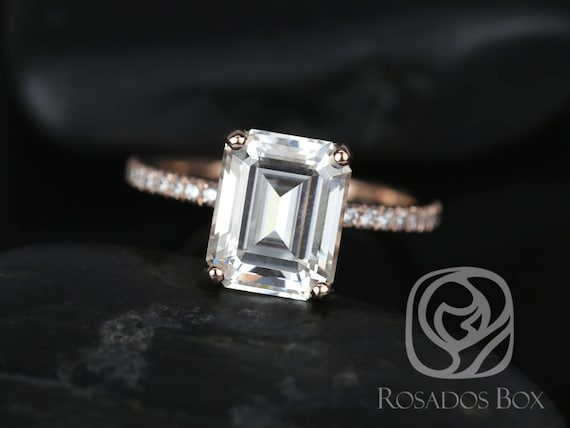 SALE Rosados Box Ready to Ship Vertical Becca 10x8mm 14kt Rose Gold Emerald FB Moissanite Diamonds Engagement Ring
