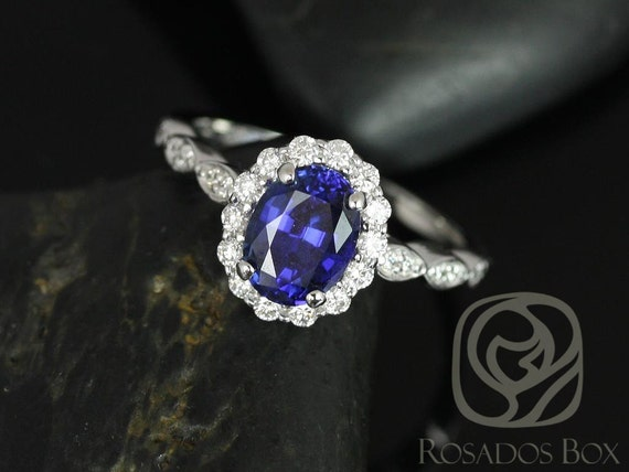 8x6mm Oval Blue Sapphire Diamond Flower Petal Halo WITHOUT Milgrain Engagement Ring,14kt White Gold,Jubilee 8x6mm,Rosados Box