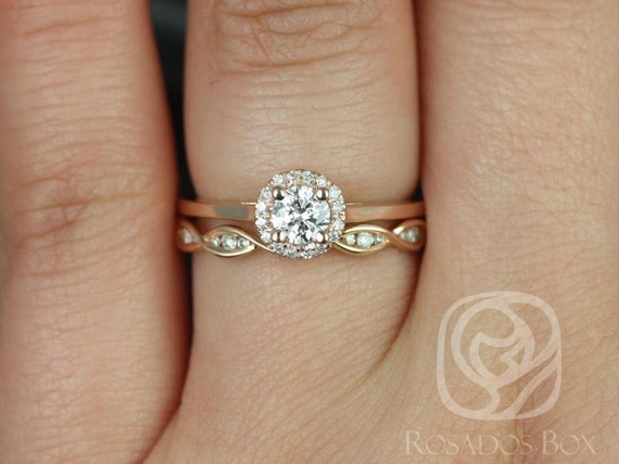 Rosados Box Amerie 4.5mm 1/3cts & Ember 14kt Rose Gold Round Diamond Halo Wedding Set Rings