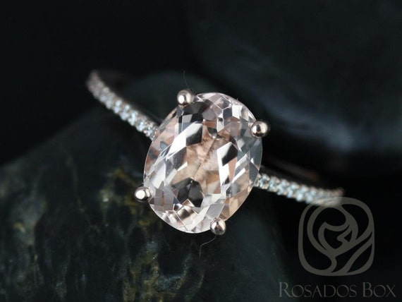 Rosados Box Ready to Ship Blake 10x8mm 14kt Solid Rose Gold Oval Morganite Diamonds Thin Cathedral Solitaire Wedding Set Rings Rings
