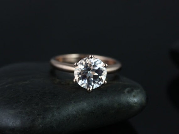 Rosados Box Ready to Ship Webster 9mm 14kt Rose Gold Round White Topaz Six-Prong Webbed Engagement Ring