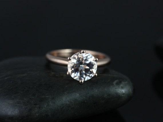Rosados Box Webster 9mm 14kt Rose Gold Round White Topaz Six-Prong Webbed Engagement Ring