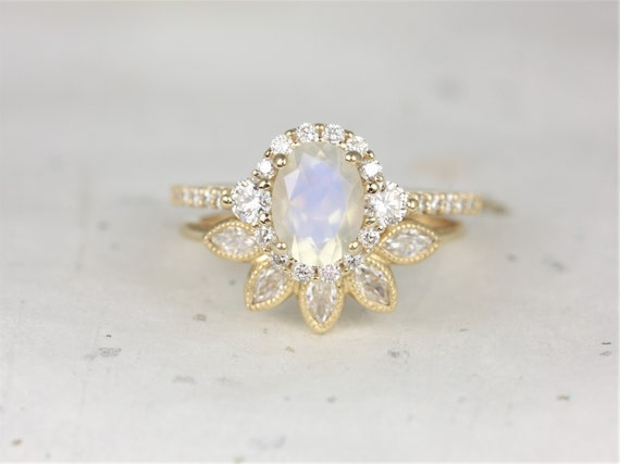 Bridgette 8x6mm & Petunia 14kt Solid Gold Rainbow Moonstone Diamonds Sapphire 3 Stone Unique Oval Halo Wedding Set Rings,Rosados Box