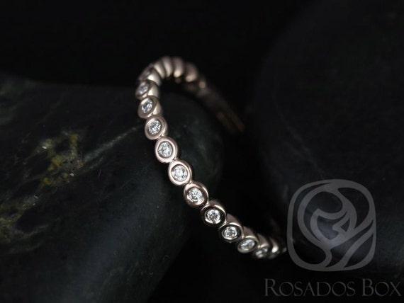 Rosados Box Petite Bubbles 14kt Rose Gold WITHOUT Milgrain Diamonds ALMOST Eternity Band