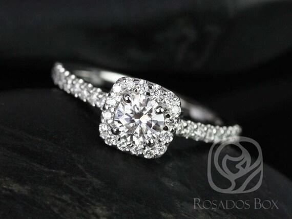 Rosados box Mikena 5mm 14kt White Gold Round Forever One Moissanite Diamonds Halo Engagement Ring