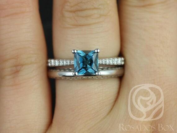 Rosados Box Taylor 6mm & Alexis 14kt White Gold Princess London Topaz and Diamond Cathedral Wedding Set