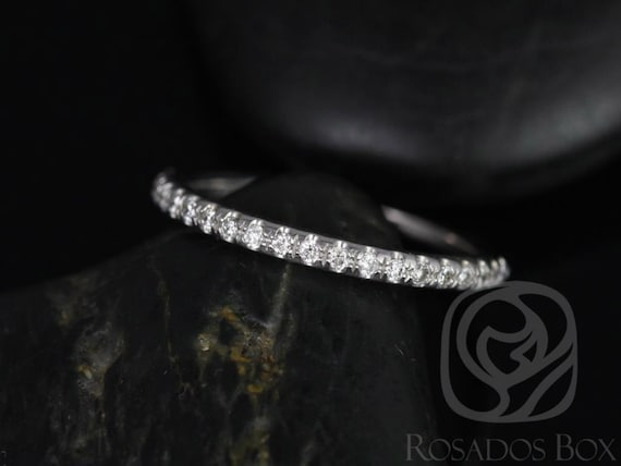 14kt White Gold Matching Band to Eva/Jenelle/Elizabeth 8x6mm Glitter Pave Diamonds HALFWAY Band,Rosados Box