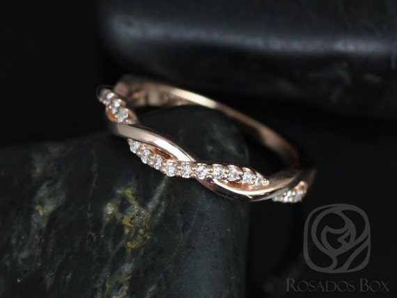 Diamond Twist Ring, Weaving Braid Diamond HALFWAY Eternity Stacking Ring Band, 14kt Rose Gold,Dusty,Rosados Box