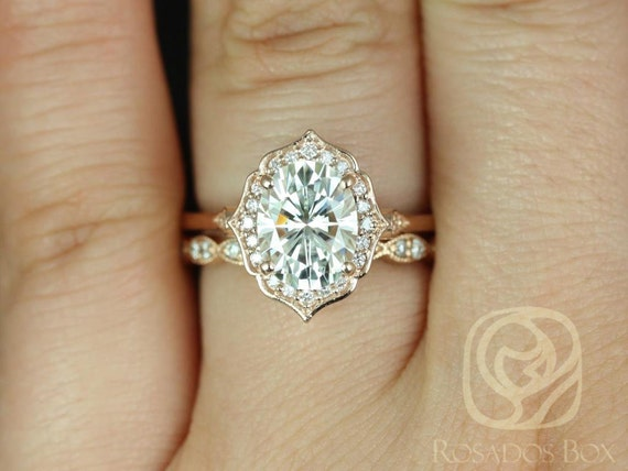 2ct Mae 9x7mm & Christie 14kt Rose Gold Forever One Moissanite Diamond Art Deco Unique Oval Halo Wedding Set Rings,Rosados Box