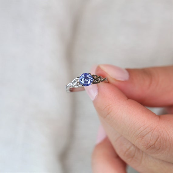 Ready to Ship Cassidy 6mm Round Blue Sapphire Celtic Love Knot Triquetra Engagement Ring,14kt Solid White Gold, Rosados Box
