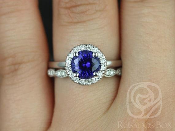 Katie 7mm & Christie 14kt White Gold Blue Sapphire Diamond Art Deco Round Halo Wedding Set Rings,Rosados Box
